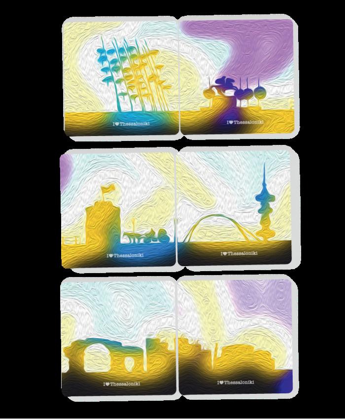 Σετ Σουβέρ Puzzle Πολύχρωμα Μνημεία